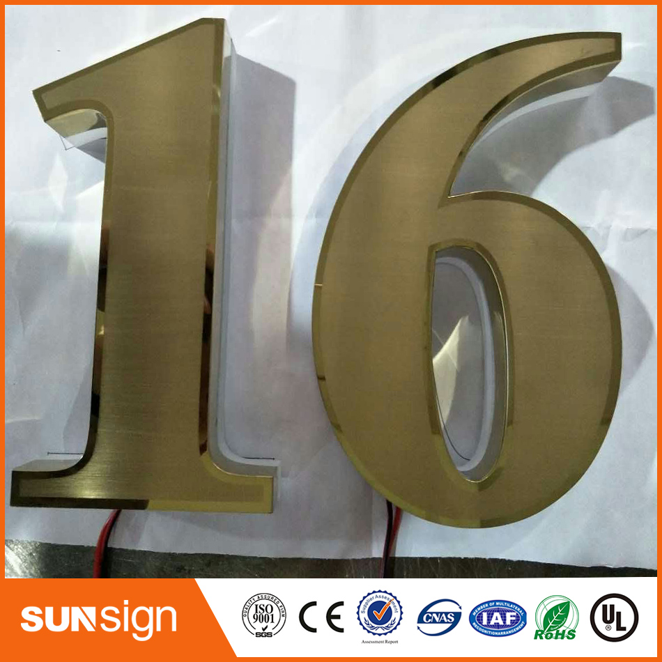 SUS304 Brushed House Numbers Custom Backlit Letters