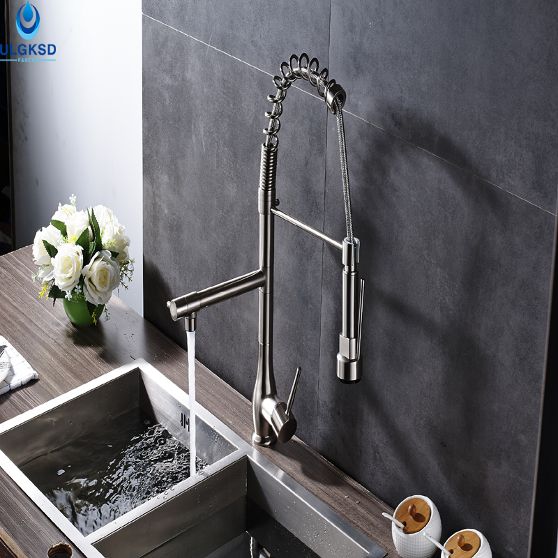 Ulgksd High Quality Brushed Nickle Kitchen Sink Faucet Pull Down Sprayer Deck Mount Kitchen Sink Faucet