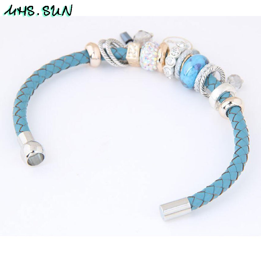 5-3Fashion Women Leather Bracelets Bangles With Beads Crystal Ethnic Bohemia Bracelets Girls All-Match Jewelry For Gift