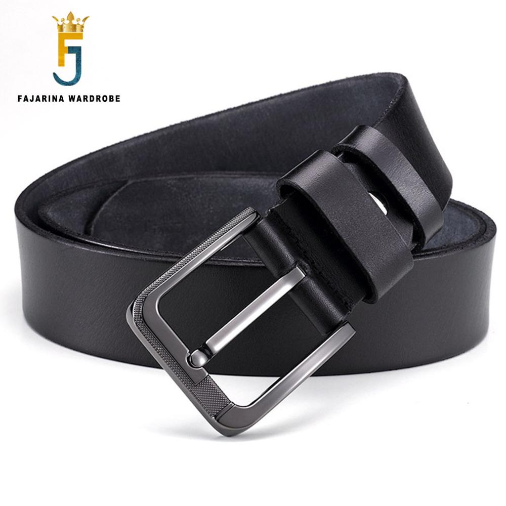 FAJARINA Top Quality Solid Layer Cow Skin Leather Retro Style Belts font b Men b font
