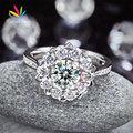 Copo de Nieve Estrella 925 Bodas de Plata del pavo real Promesa Aniversario Anillo 1 Ct Lujo Pink Creado Diamante CFR8265