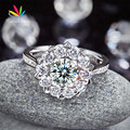 Peacock Star Snowflake 925 Sterling Silver Wedding Promise Anniversary Ring 1 Ct Fancy Pink Created Diamond CFR8265
