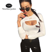 NewAsia Garden Female Casual Fashion Sexy Tee Shirt Women Hollow Out Tops Long Sleeve Basic Printed