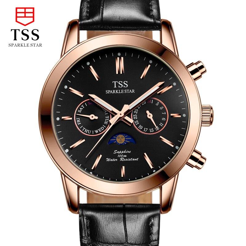 TSS Moon phase Astronomical chronograph stars font b men s b font watches font b quartz