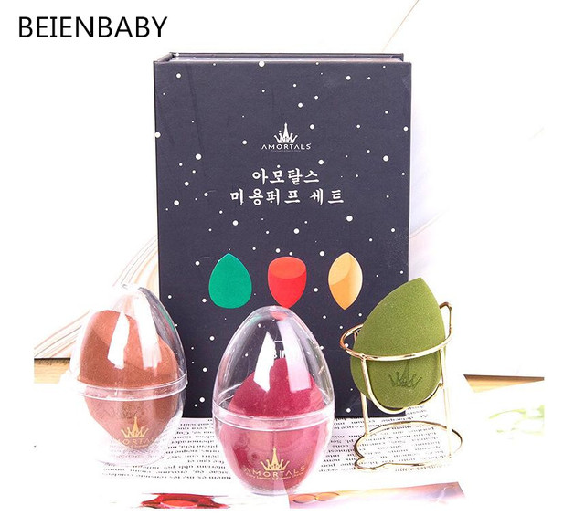 BEIENBABY  Soft  Powder Puff Drying Holder Egg Stand Beauty Pad Sponge Display Rack Cosmetic Puff Holder Make Up BOX
