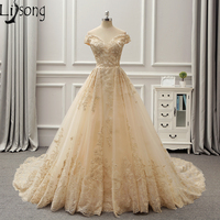 Fabulous Champagne Wedding Dress Floor Length Hem Pleated Gold Embroidery Appliques Bridal Formal Dress Maxi Gown 2018 New Style