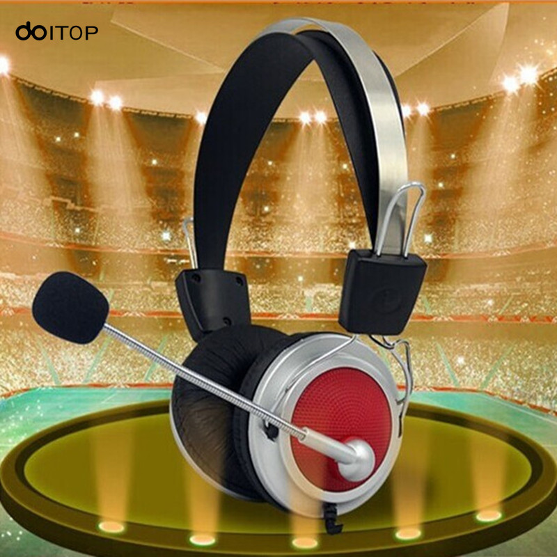 DOITOP Professional Stereo Headphone With Microphone Headset Wired Music Earphone For Computer Games PC Mobile Phones mp3 mp4 A3 universal dmyco jm26 headphone original earphone good quality professional portable headset microphone for smart mobile phones