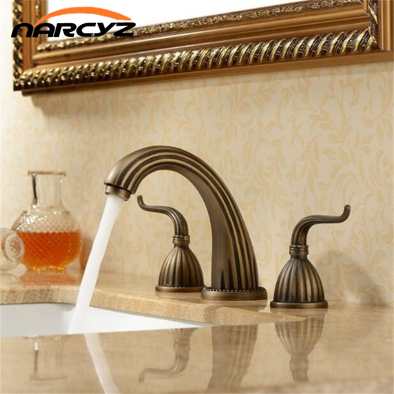 Free Shipping 3 pcs Antique Brass Deck Mounted Bathroom Mixer Tap Bath Basin Sink Vanity Faucet Water Tap Bath Faucets XR8210