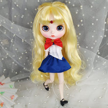 Free Shipping 30CM 12inches Factory Blyth Doll Golden Long Hair White Skin 1/6 Joint Body Doll Gift Sailor Moon BJD Doll Toys цена