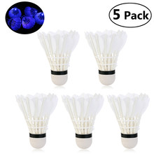 FOXNOVO 5pcs Novelty Sports Dark Night LED Glowing Light-up Badminton Birdies Shuttlecocks (Blue Light)(China)