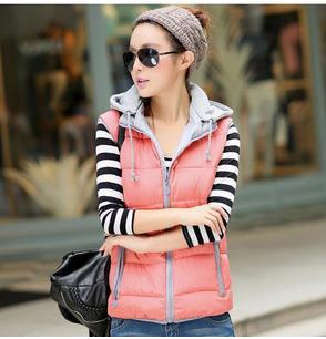 Hot Sale New 2015 Vest Women Autumn Winter Jacket Fashion Hooded Zipper Elegant Slim Plus Size Casual Cotton-Padded Coat WJ2596