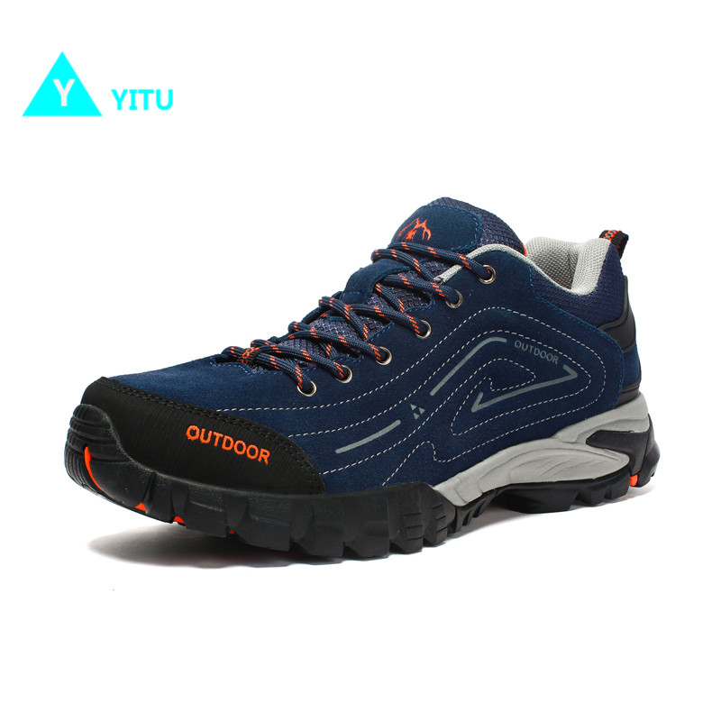 YITU Mountain Climbing Hiking Shoes Men Autumn Big Size Winter Hiking Sneakers Travel Suede Outdoor Anti-skid Trekking Shoes humtto new hiking shoes men outdoor mountain climbing trekking shoes fur strong grip rubber sole male sneakers plus size