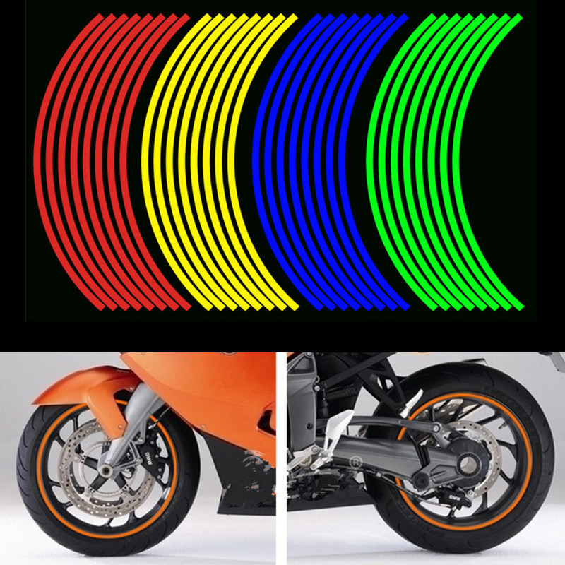 Universal 16 Strips Red Reflective Sticker Car Motorcycle Wheel Hub Tire Sticker