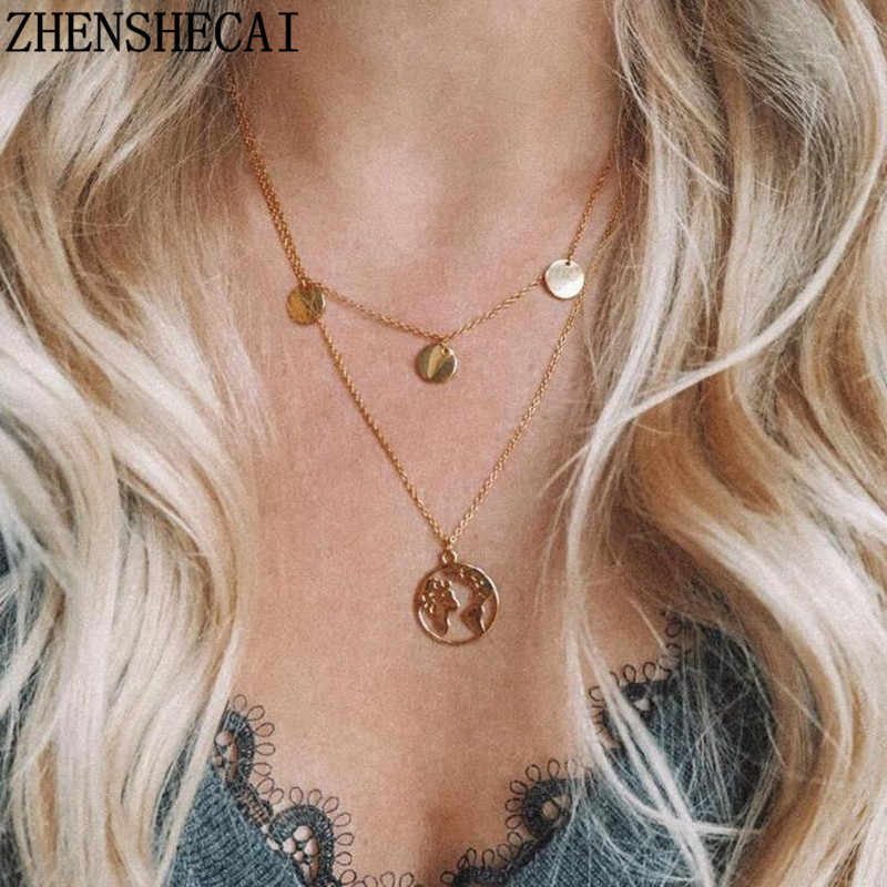 New Fashion Jewelry hollow round Pendant Necklace map inside Chain of multiple layers for Women Girl jewelry gift xz2