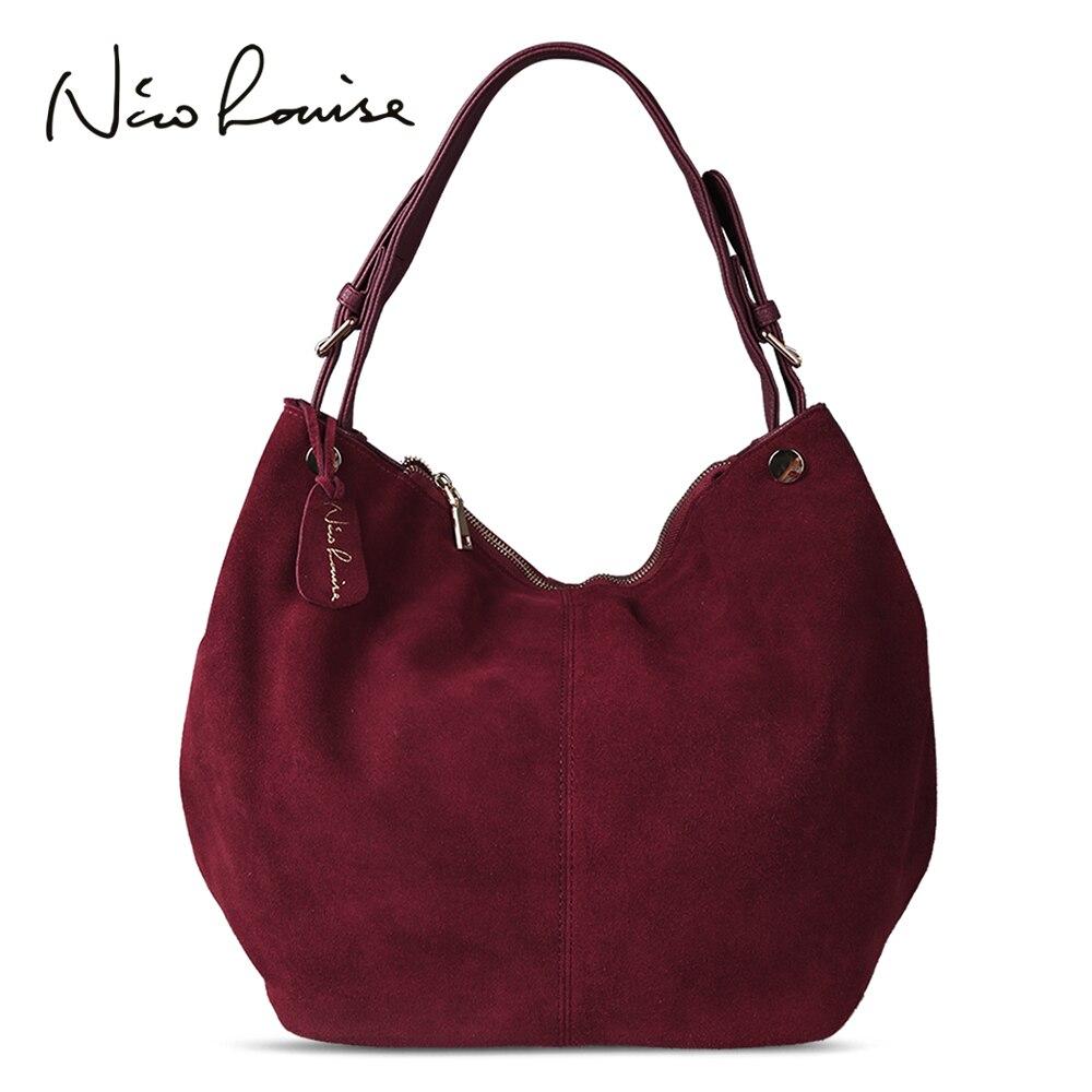 Nico Louise Mulheres Reais Camurça Hobo Saco De Couro New Design Feminino Bolsa de Lazer Sacos de Ombro Grande Saco de Compras Bolsa Ocasional