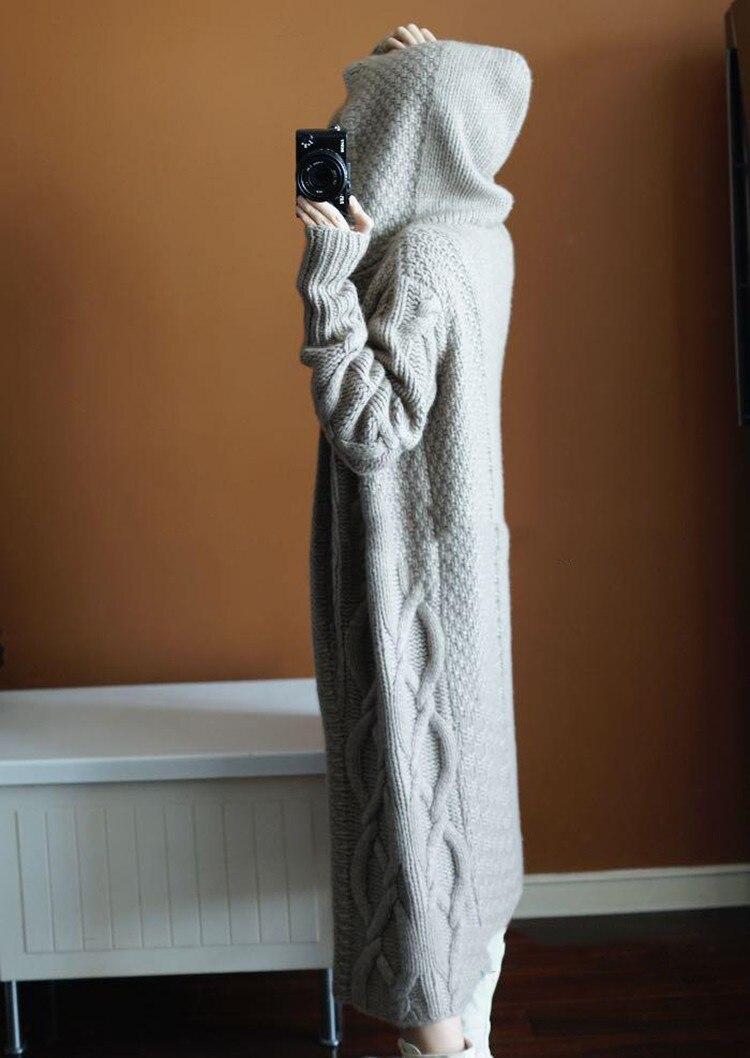 Cappuccio Del Maglione Grigio Di Morbido Autunno Spessore Con Inverno Cardigan Delle cachi Colore Donne Cappotto Cachemire Solido Nuovo Moda XXIRqP