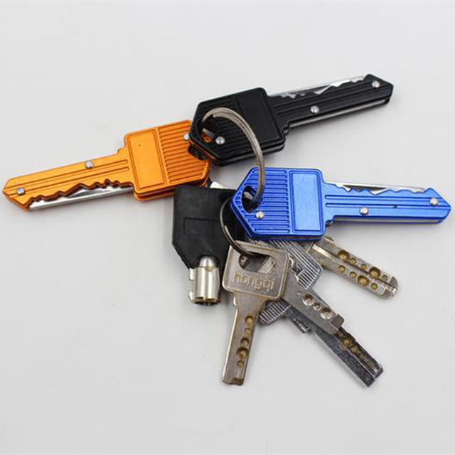 Key Pocket Knife Key Chain Knife Peeler Mini Camping Key Ring Knife Tool BeHelper [4 Color] Portable Key Fold Knife
