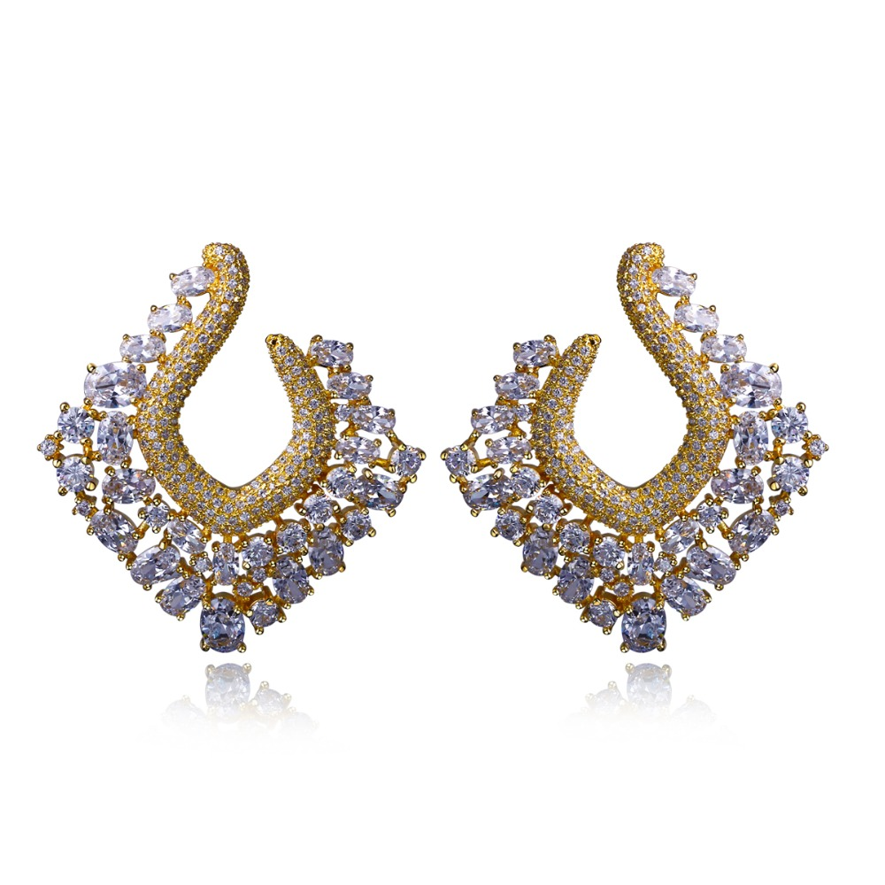 High quality big Women Earring setting white CZ Stud Earrings Classic style new fashion jewelry Free shipment