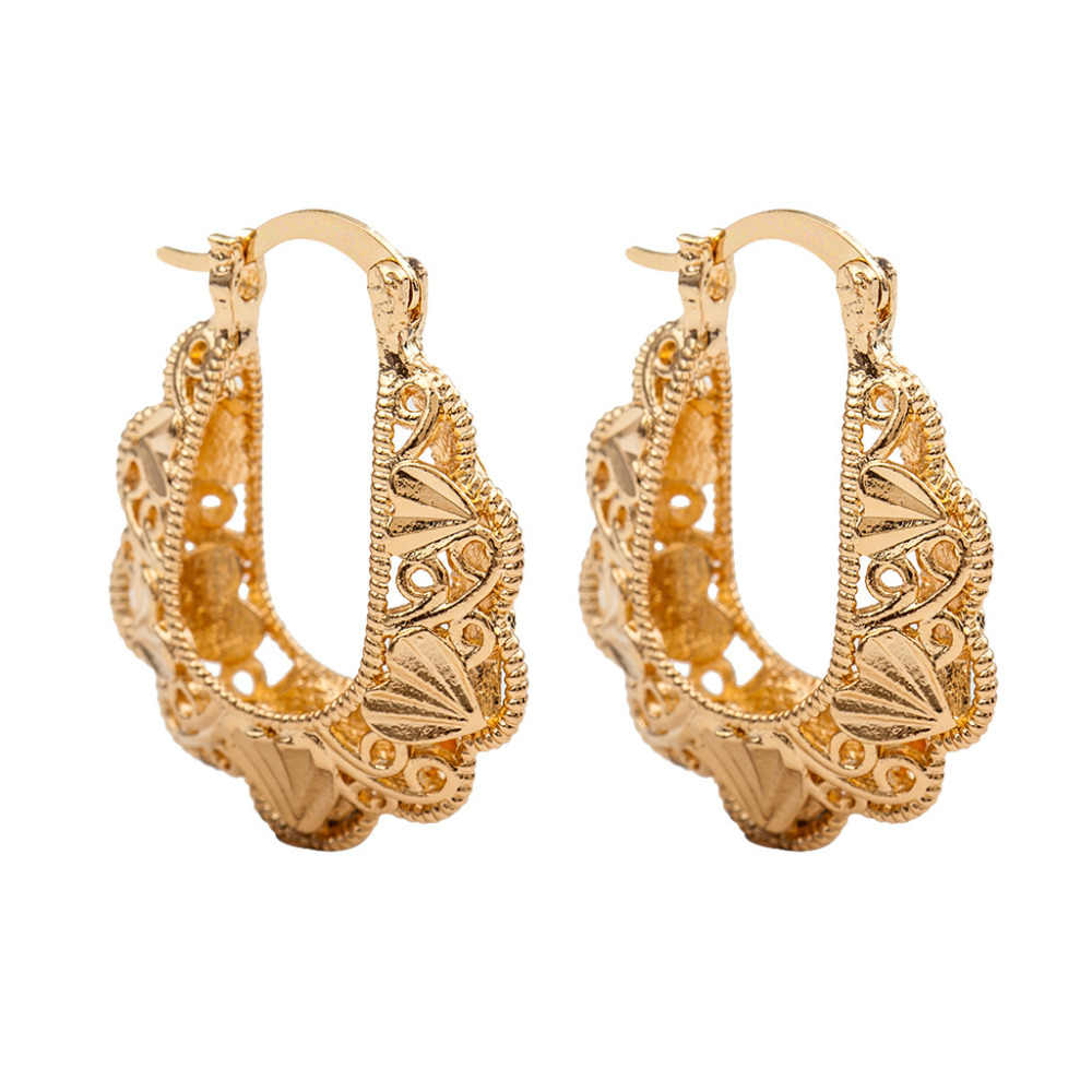 Hoop Earrings For Women Hollow Flower Gold Color U Shape Circle Round Loop Earring Fashion Jewelry Ear Accessories