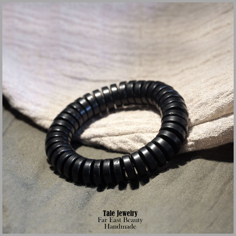 6640643d1f62 2016 nueva moda natural Coco Conchas pulsera negro de madera plana Cuentas  mujer mens pulsera clásico chino joyería diseño simple