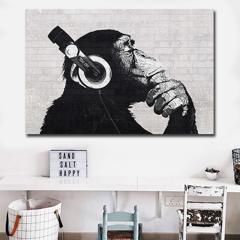 Dropship DJ Monkey Wall Art HD Prints 1 Piece Canvas Art Animal Oil Painting Wall Art Modular Picture For Living Room Decoration