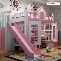 0128TB006 Modern Children Bedroom Furniture Princess Castle With Slide Storages Cabinet Stairs Double Children Bed