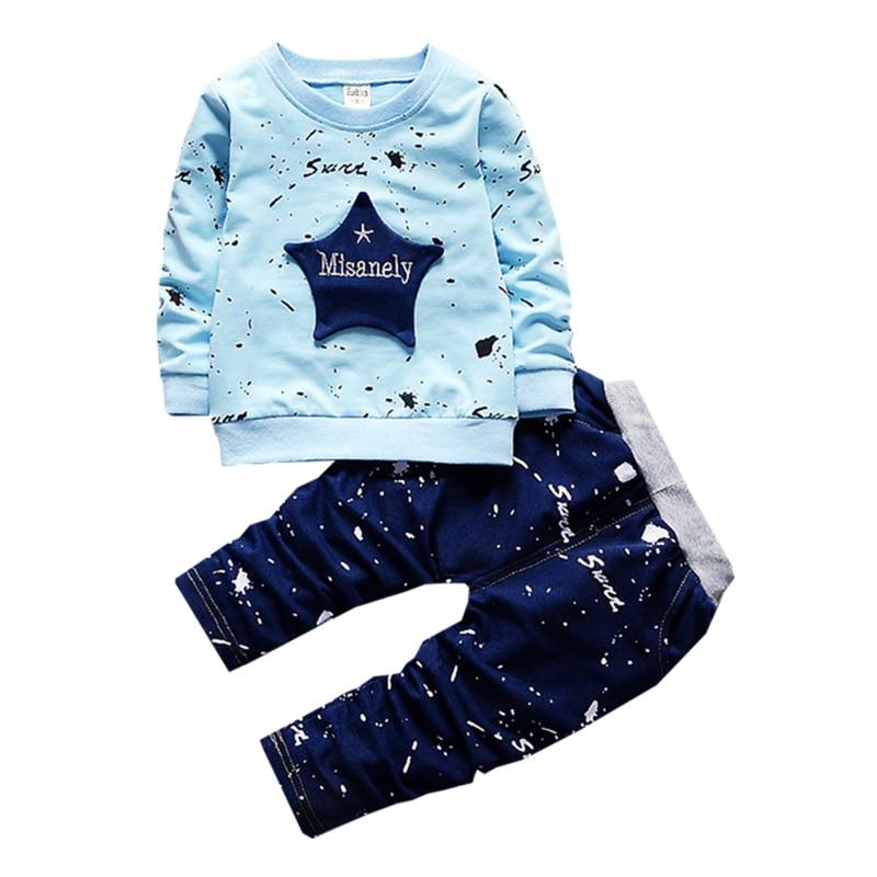 малки деца момчета дрехи мода камуфлаж звезда звезда карикатура печат качествени детски спортен костюм1-4 години стари детски облекла