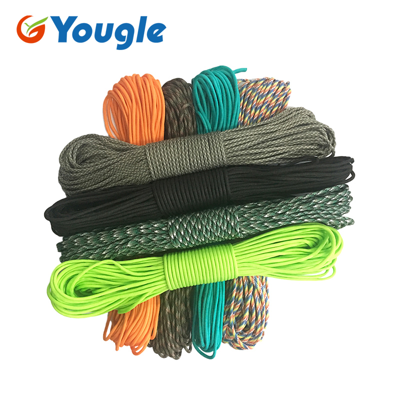 YOUGLE 4mm 550 Paracord Parachute Cord Lanyard Tent Rope Guyline Mil Spec Type III 7 Strand Core 50-100 FT Survival Wholesale