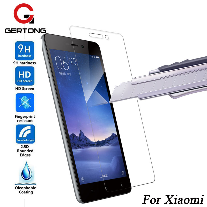 GerTong Premium Protective Tempered Glass For Xiaomi Redmi Note 3 Pro 3S 4A 5A Mi4C Mi4i Mi4 Mi5 Toughened Screen Protector Film