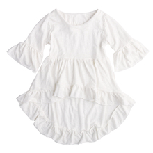 Summer New Sweet Baby Girl Asymmetrical Dress Frills Flare Sleeve Party Ruffles Dresses Stylish Girls White Princess Dresses