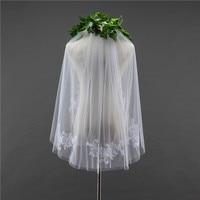 En Stock Corta Una Capa de longitud de la cintura de Cristal Palo apliques blanco marfil velo de novia velos de novia