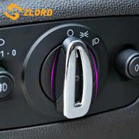 Zlord ABS cromado luces de la cabeza del coche cubierta de la perilla del interruptor de la lámpara del faro pegatina de ajuste para nuevo Ford Fiesta MK7 Ecosport