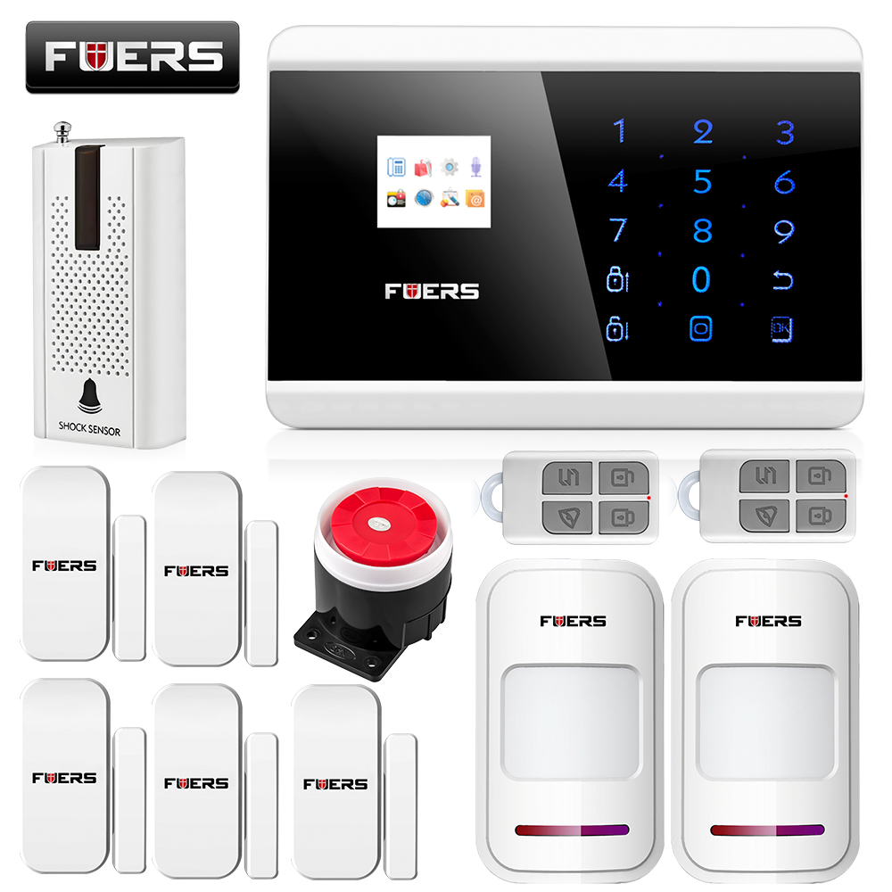Fuers Wireless/Wired Home Security GSM Alarm System App Control Arm/disarm Autodial Alarm System English Russian Spanish version fuers smart app control wireless wired home gsm sms security alarm system auto dial with infrared detector door open reminder