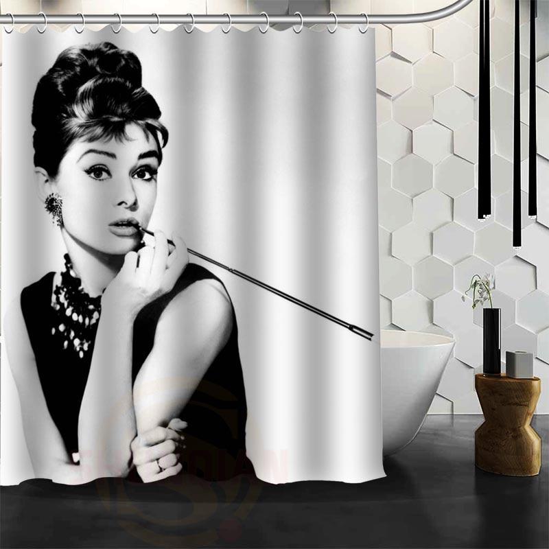 Audrey Hepburn Dusj Gardin Polyester Fabric Mer Størrelse Tilpasset Baderom Dusj Gardiner