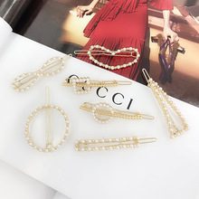 цена Fashion women's sweet pearl hairpin geometry love circular personality clip lady hair jewelry boutique source онлайн в 2017 году