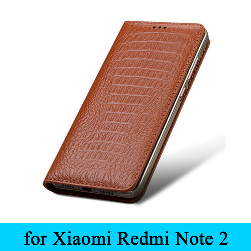 for Xiaomi Redmi Note 2 Case Original Crocodile Grain Genuine Leather Phone Case Cover for Xiaomi Hongmi Red Rice Note 2