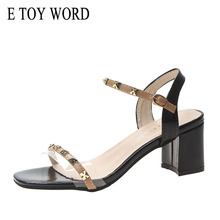 E TOY WORD Thick Heels Sandals 2019 Summer New Fashion Women Shoes Wild Open Toe Transparent Sandals High Heels Black Red asumer black apricot rose red fashion summer ladies shoes buckle thick platform prom shoes women high heels sandals