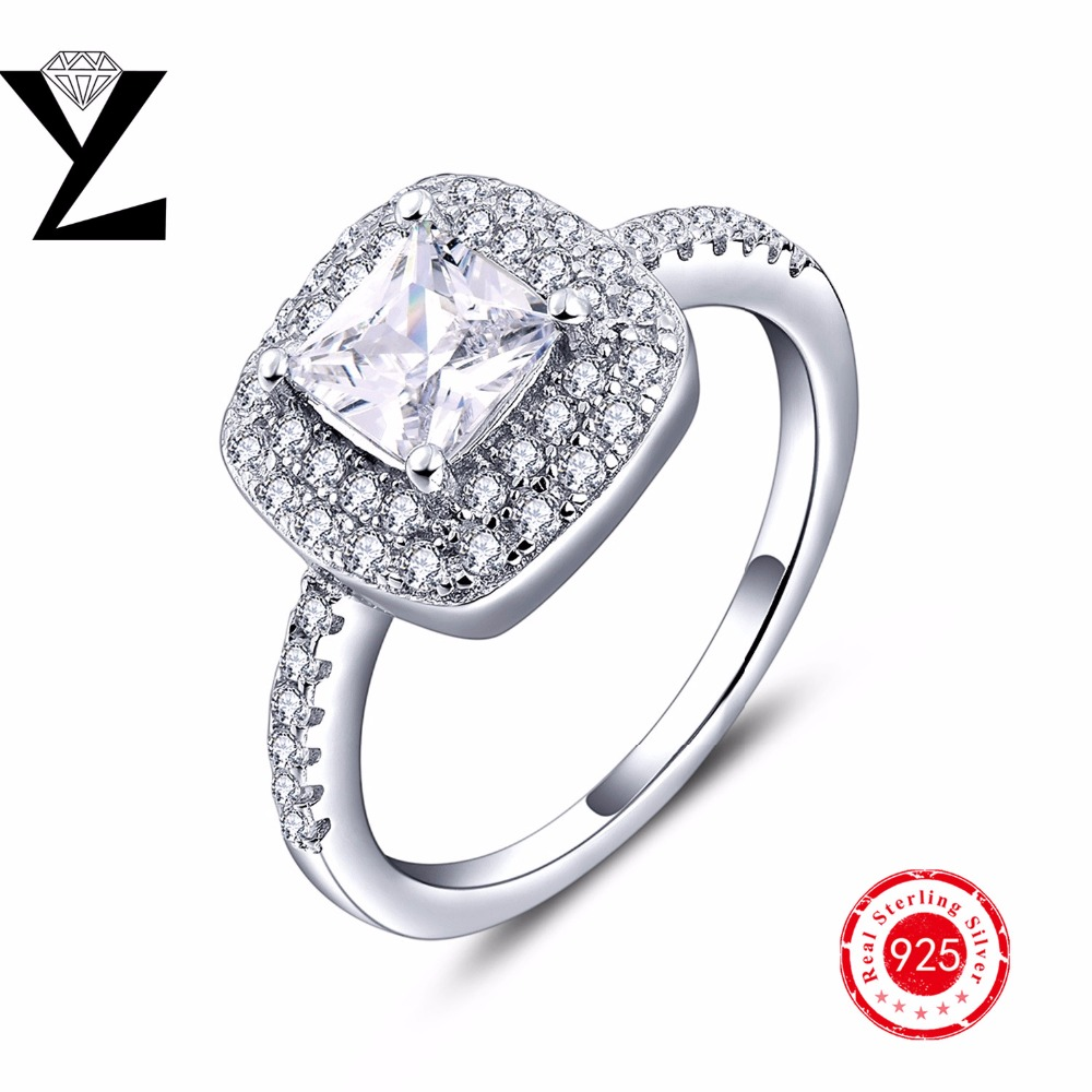 2016 New Fashion 925 Sterling Silver Square Cz Diamond Rings For Women Engagement  Wedding Bands Full Finger Ring Ladies Rings