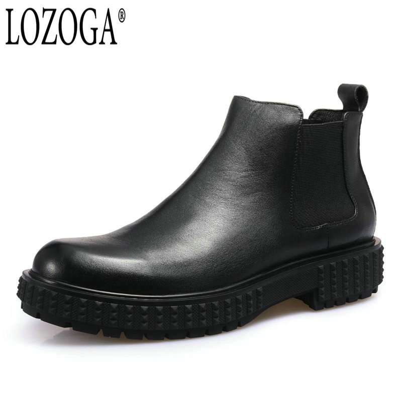 LOZOGA New Men Boots Genuine Leather Italian Black Luxury Fashion Boots Handmade Man Ankle Chelsea Boots Top Quality Brand Shoes