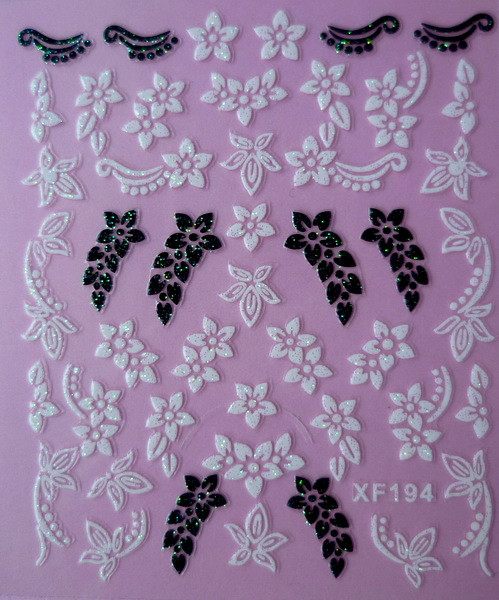 black 3D flower design Water Transfer Nails Art Sticker decals lady women manicure tools Nail Wraps Decals XF194