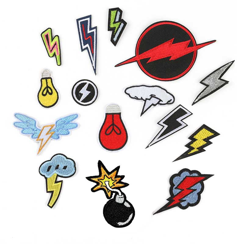 Diy Vintage Lightning Patch Clothes Embroidered Iron On Patches For Clothing Retro Stripes Motif Appliques Parches Ropa Plancha