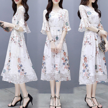 Spring and summer new style Chiffon floral dress Temperament elegant printed long