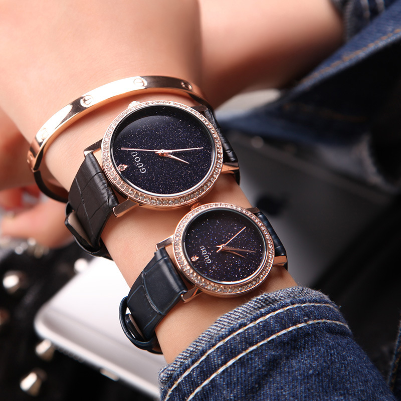 GUOU Fashion Quartz Women Watch Rhinestone Leather Casual Dress Watches Rose Gold Ladies clock reloje mujer  montre femme tezer ladies fashion quartz watch women leather casual dress watches rose gold crystal relojes mujer montre femme ab2004