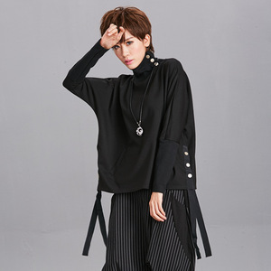 Image 3 - [EAM] Loose Fit Black Ribbon Split Sweatshirt New High Collar Long Sleeve Women Big Size Fashion Tide Spring Autumn 2020 OA879