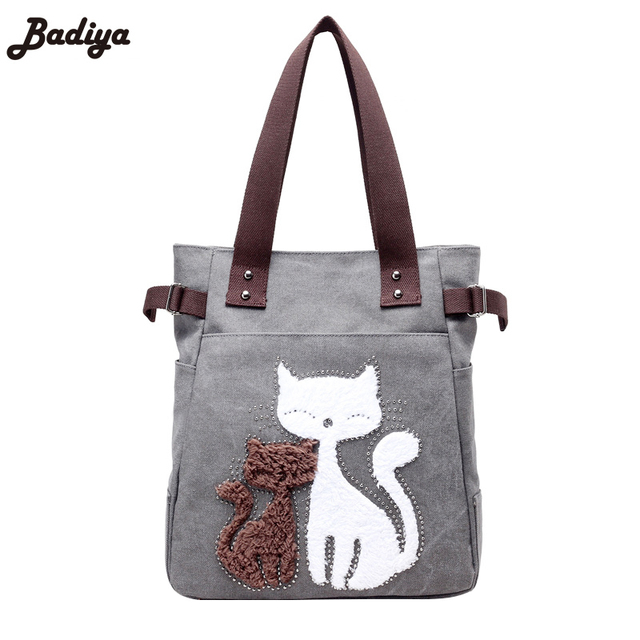 New Casual Tote Bags Canvas Little Cats Pattern S Gifts Shoulder Handbags Women Purses For Ping