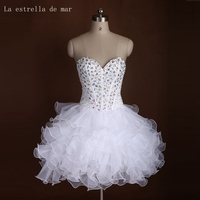 Robe cocktail 2019 new sexy sweetheart crystal fluffy white cocktail dress short cheap Formal Party Gown hot sale abendkleider