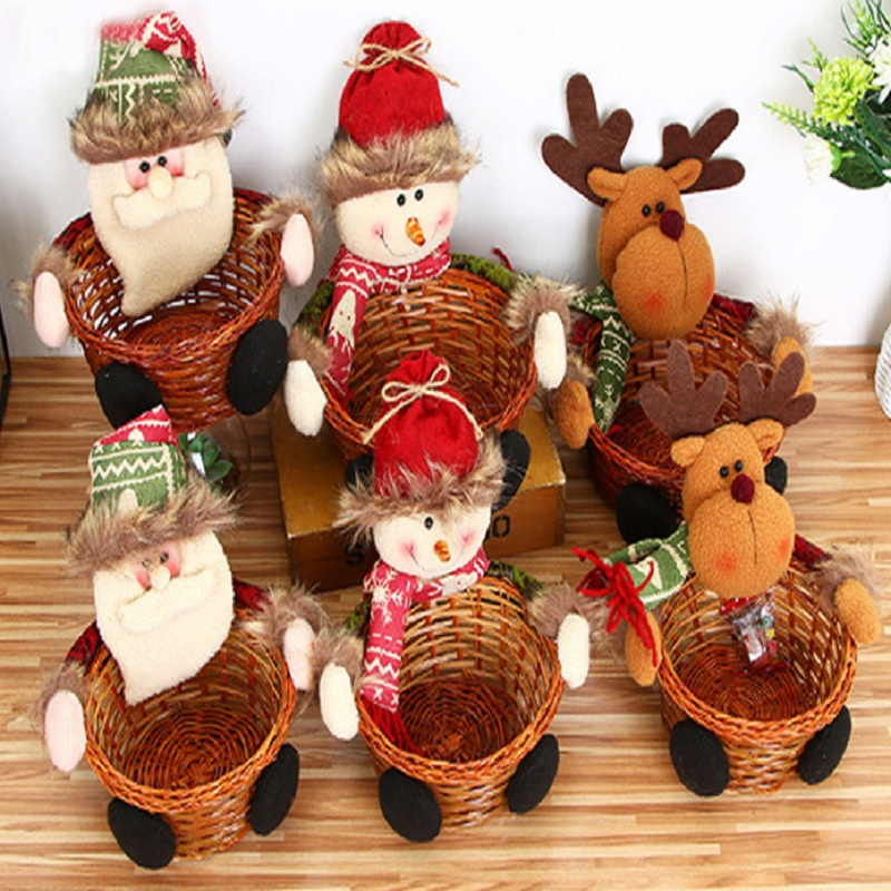 Christmas candy basket Christmas desk set up a children's candy basket Christmas decorations gift collection   - title=