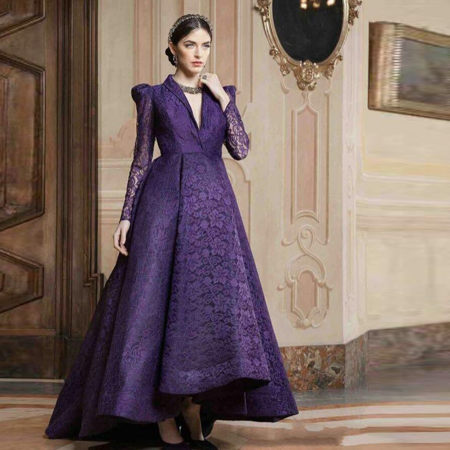 Popular Purple Evening Dress with Sleeves-Buy Cheap Purple Evening ...