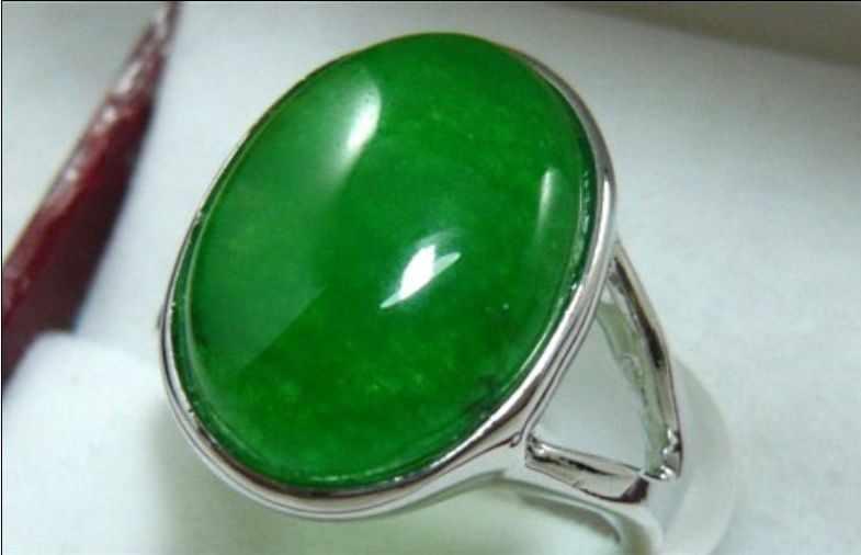 ที่สวยงามสีเขียวธรรมชาติหยกลูกปัดแหวน (#6,7, 8)
