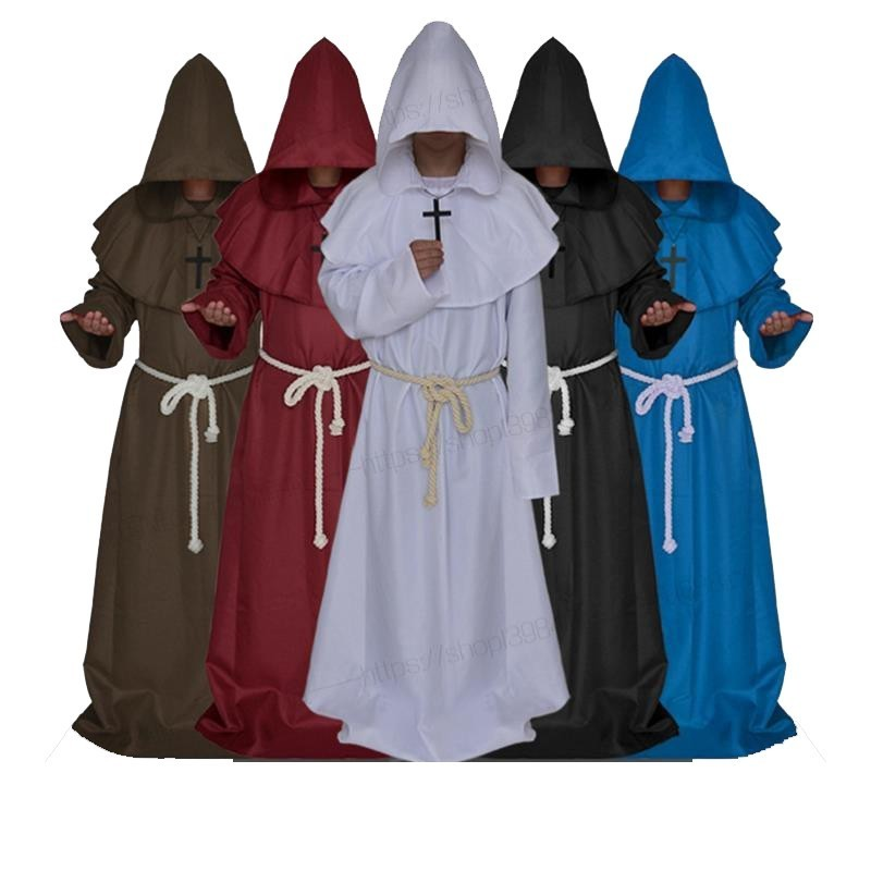 Ancient Costume Medieval Monk Cosplay Friar Robe Wizard Adult Christian Priest Robe Wizarding Disguise Halloween Carnival